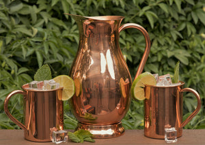 100% Copper Pitcher with Lid (70 oz - 2.0 L) - Premium Handcrafted Water Jug for Ayurveda Health - No Inside Liner