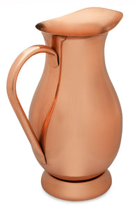Copper Mules 100% Copper Pitcher with Lid (70 oz - 2.0 L) - Premium Handcrafted Water Jug for Ayurveda Health - RAW Copper Interior
