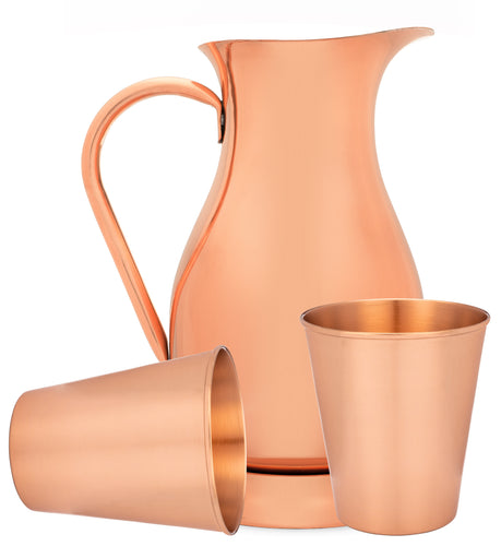 The Most Elegant 2liter-70oz Pure Copper Pitcher with Lid and Set of 2 Copper Tumblers with Leather Coasters