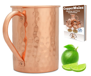100% Copper Moscow Mule Mug (16 ounce Hammered) Premium Handcrafted Quality with no Inside Liner, Riveted Handle