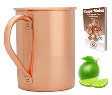 Load image into Gallery viewer, 100% Copper Moscow Mule Mug (16 ounce Smooth) Premium Handcrafted Quality with no Inside Liner, Riveted Handle