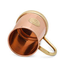 Load image into Gallery viewer, Pure Copper and Brass Moscow Mule Mug - The Finest HandCrafted Copper Mug Ever Made - 335grams Empty - 18 ounce - Patent Pending Design