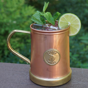 Pure Copper and Brass Moscow Mule Mug - Finest HandCrafted Copper Mug Ever Made - 335grams Empty - 18 ounce - Patent Pending Design