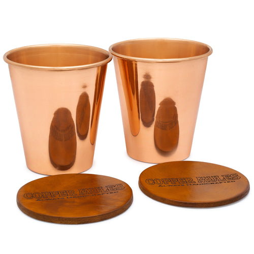 Moscow Mules Pure Copper Tumbler Set of 2 with Incredible Top Grain Leather Coasters - Made from ULTRA HEAVY 100% Pure Copper - 16oz capacity