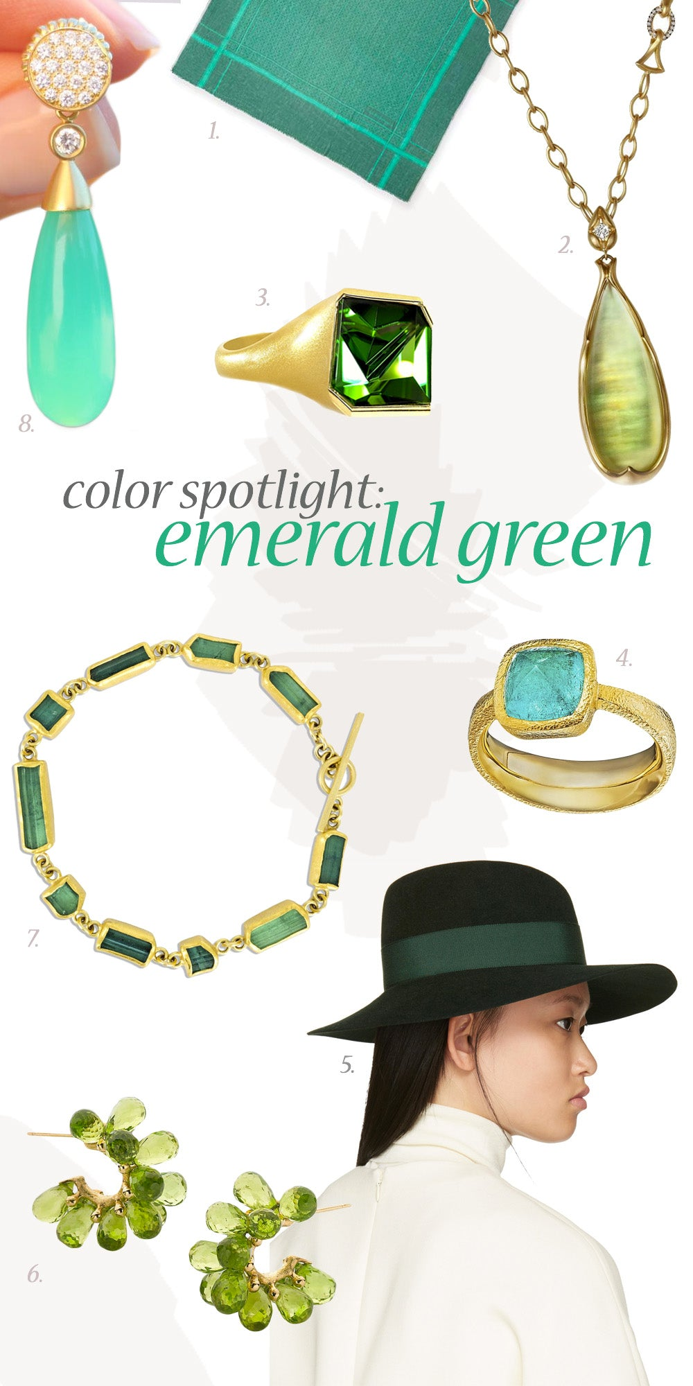 Summer to Fall Emerald Green Jewelry by Szor Collections