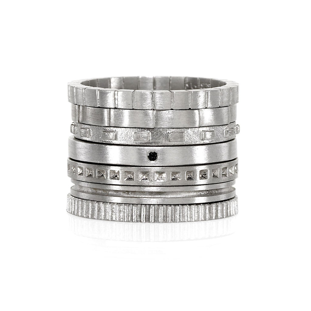 Antonio Bernardo - Antonio Bernardo Assorted Matte Silver Stacking Rings (from $125) - Szor Collections - 1