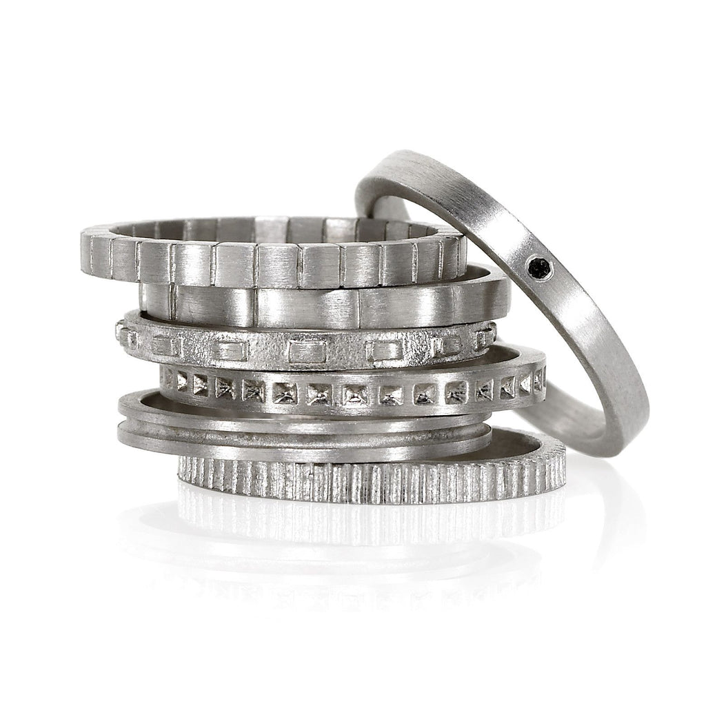 Antonio Bernardo - Antonio Bernardo Assorted Matte Silver Stacking Rings (from $125) - Szor Collections - 2