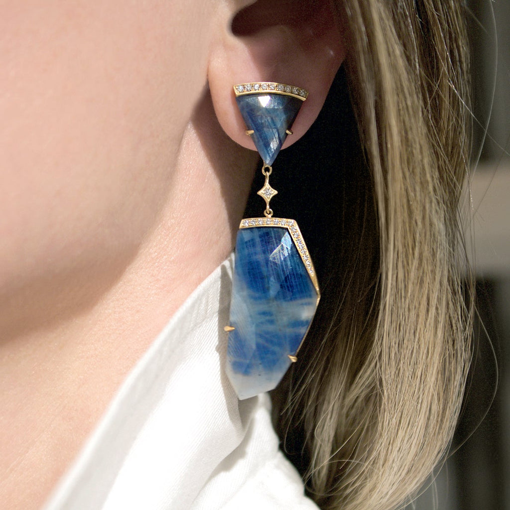 Anahita Faceted Blue Sapphire Diamond Gold Dangle Drop Earrings - Szor Collections
