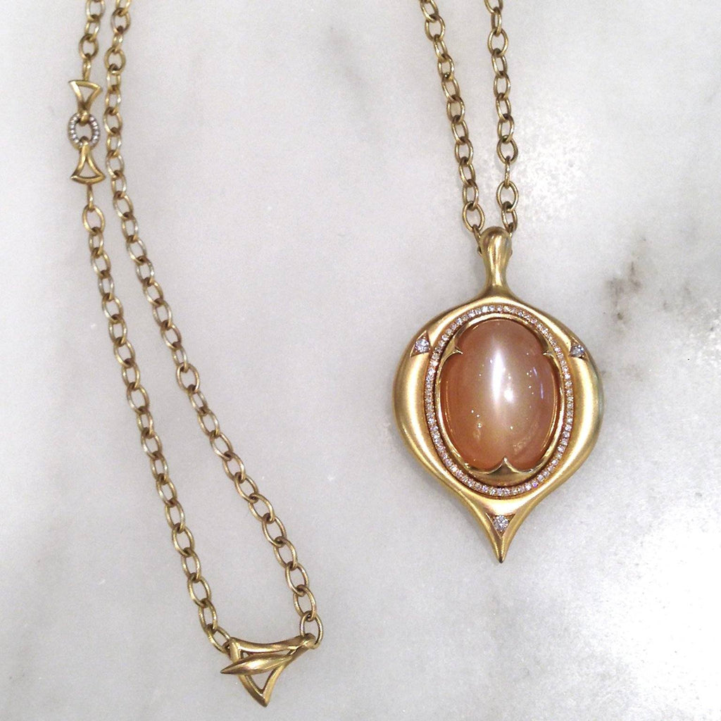 Anahita Glowing Cat's Eye Peach Moonstone Diamond Gold Amulet Necklace - Szor Collections