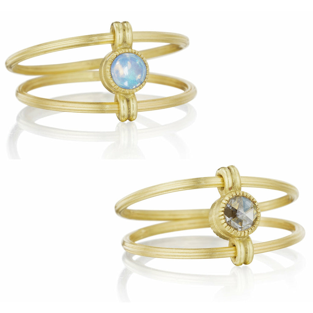Anthony Lent Opal and Diamond Delicate Flip Ring - Szor Collections