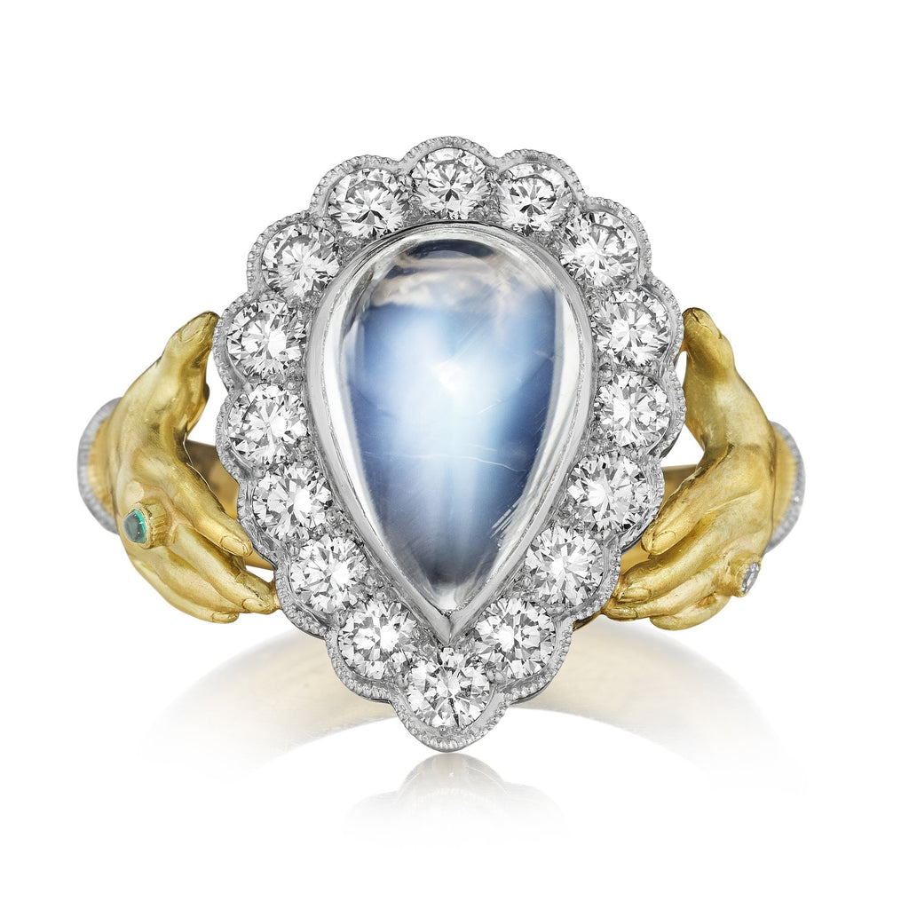 Anthony Lent Rainbow Moonstone Diamond Emerald Platinum Gold Adorned Hands Ring - Szor Collections