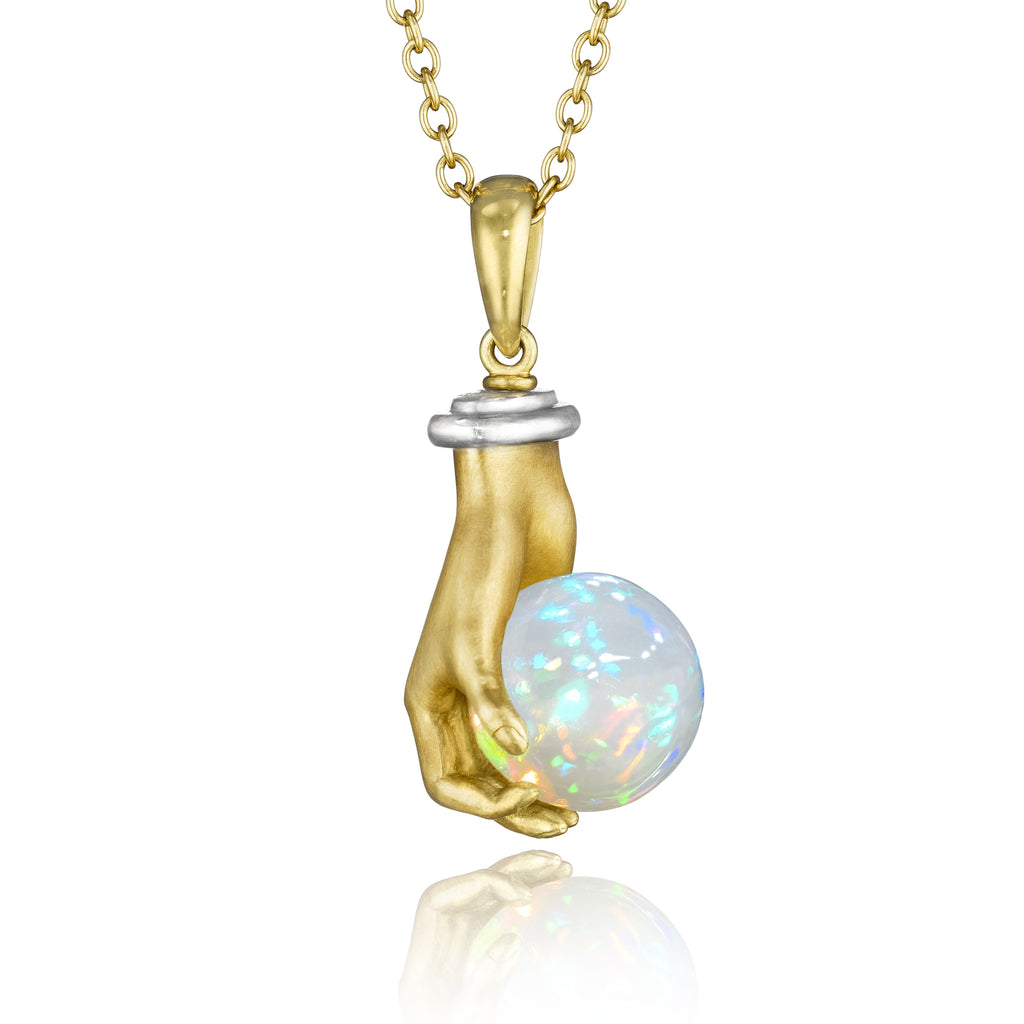 Anthony Lent Opal White Diamond One of a Kind Adorned Hands Necklace - Szor Collections