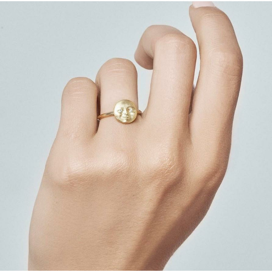 Anthony Lent Diamond Gold Moonface Ring - Szor Collections