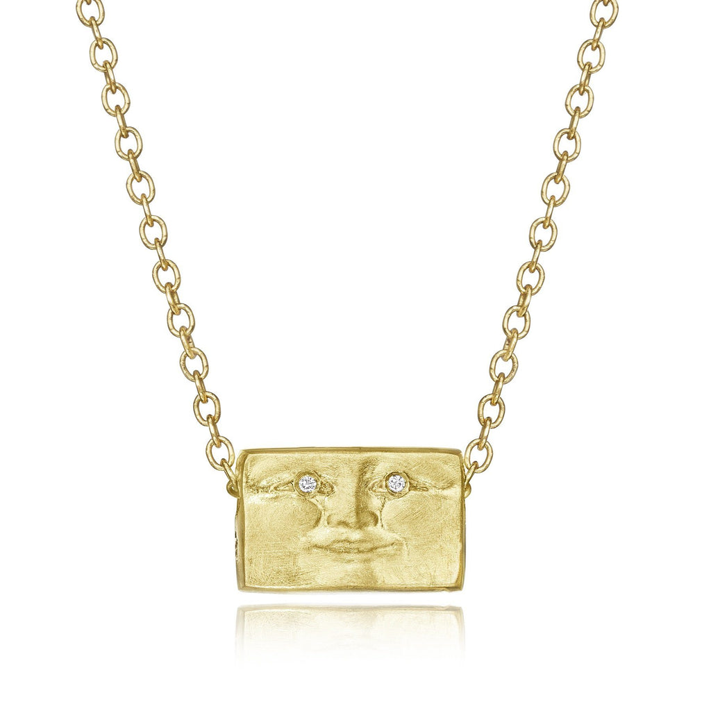 Anthony Lent Tiny Brickface Diamond Gold Pendant Necklace (Special Order) - Szor Collections