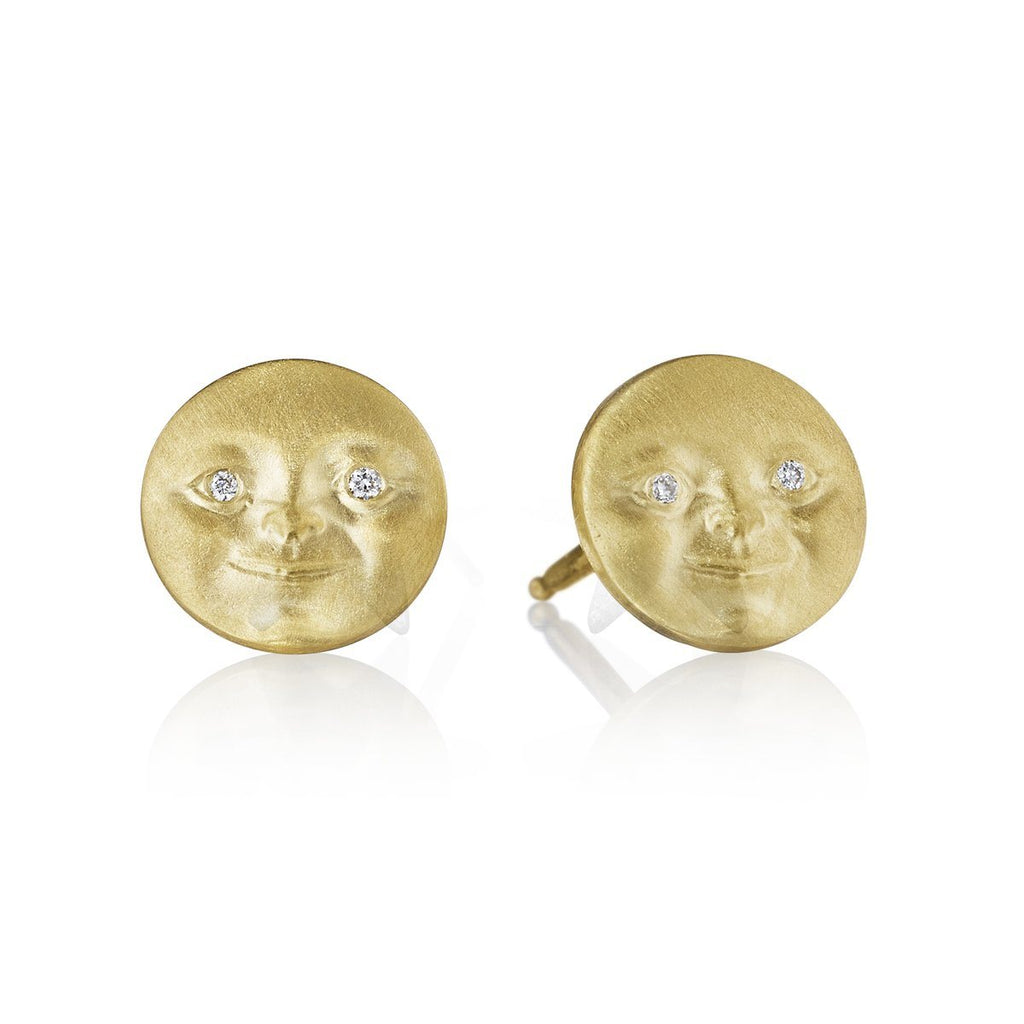 Anthony Lent Diamond Gold Moonface Stud Earrings (Special Order) - Szor Collections