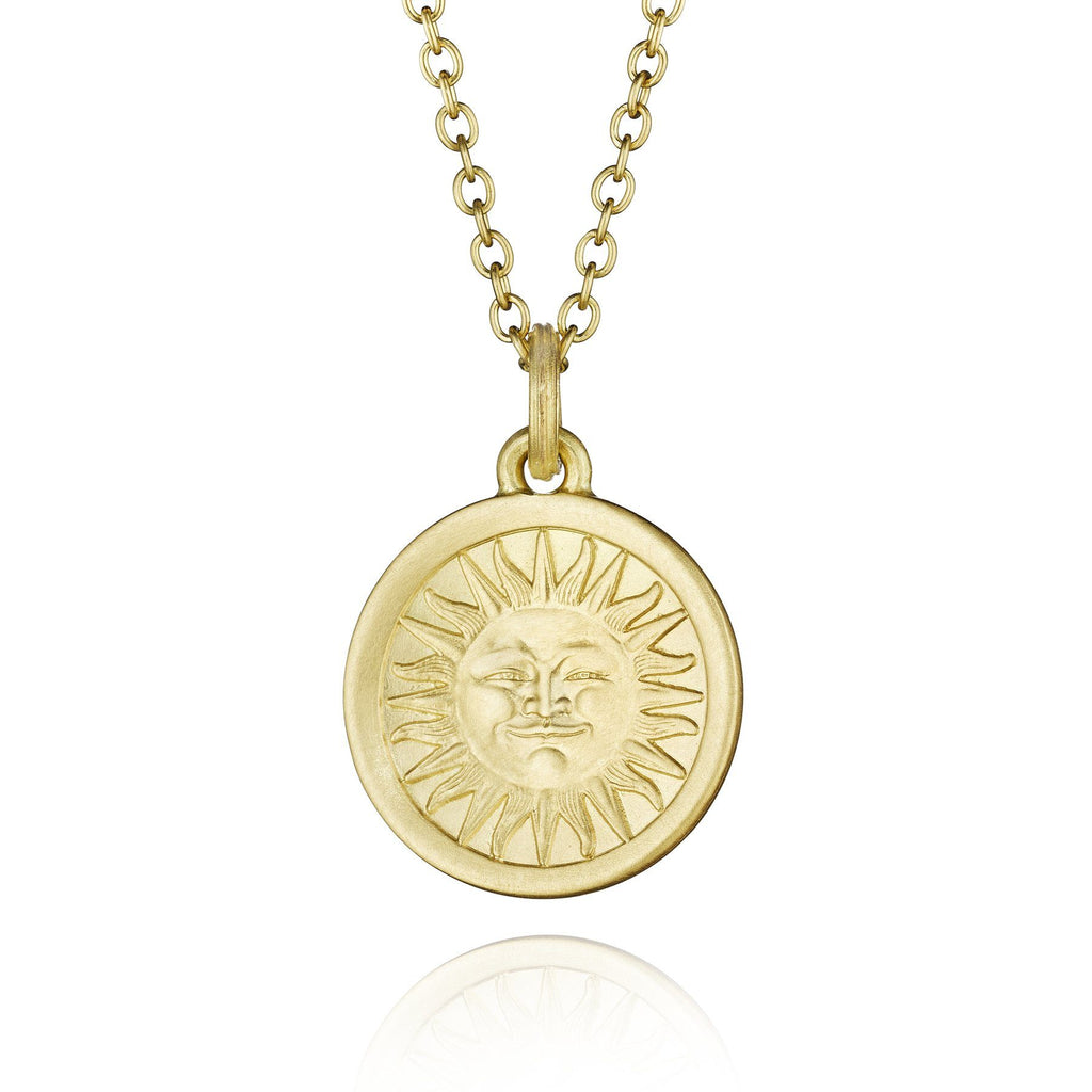 Anthony Lent Gold Reversible Moonface and Sunface Pendant Necklace - Szor Collections