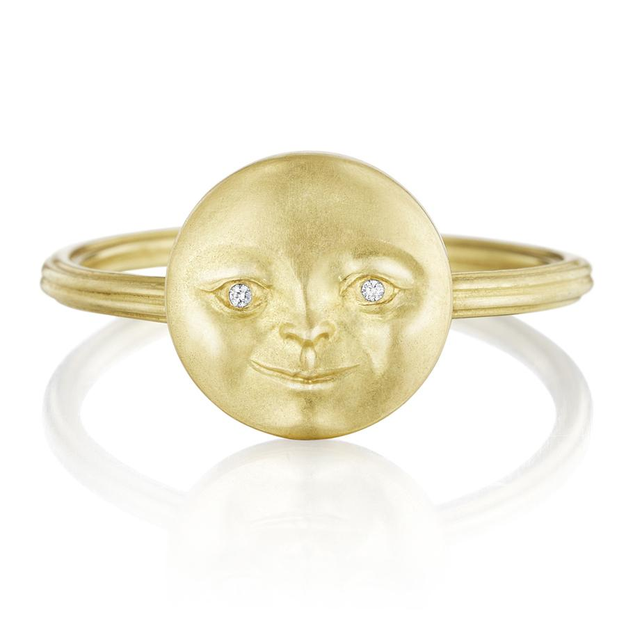 Anthony Lent Diamond Gold Moonface Ring (Special Order) - Szor Collections