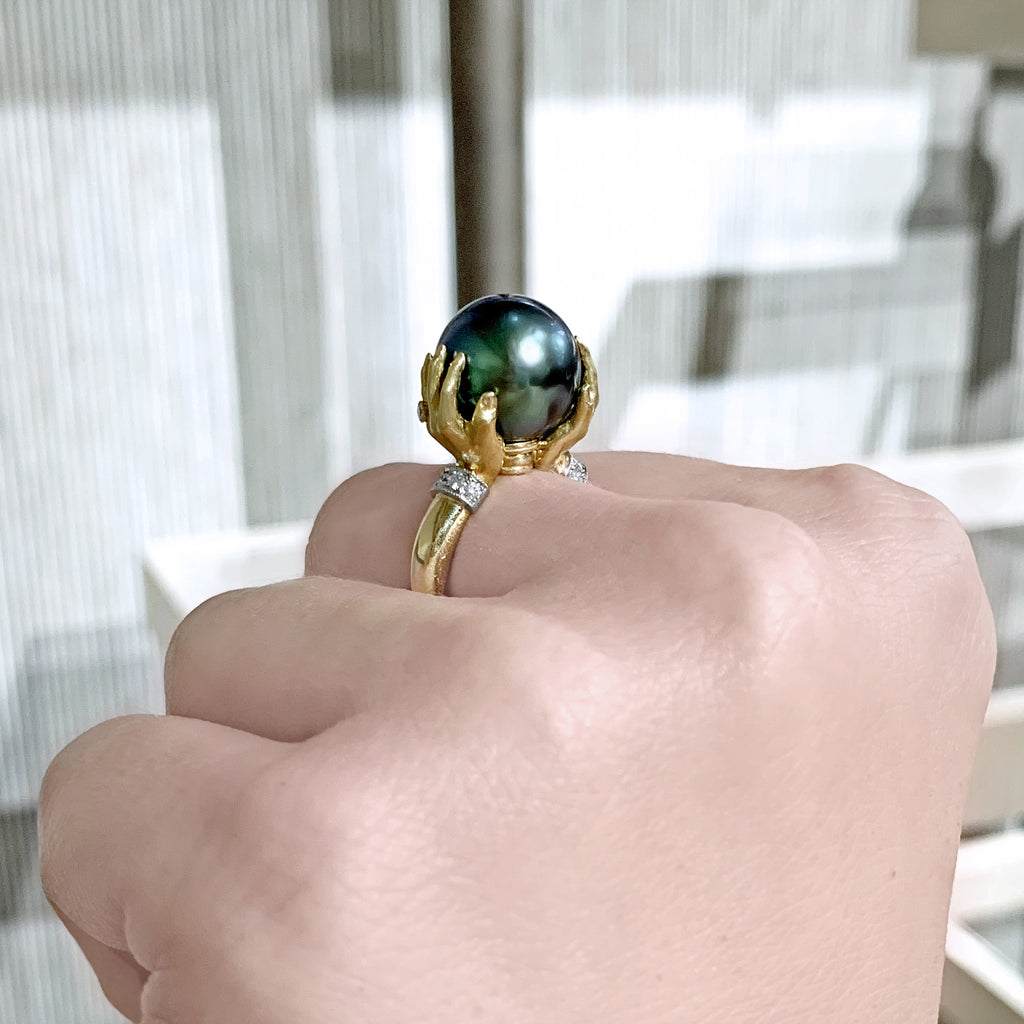 Anthony Lent Tahitian Pearl White Diamond Platinum Gold Adorned Hands Ring - Szor Collections