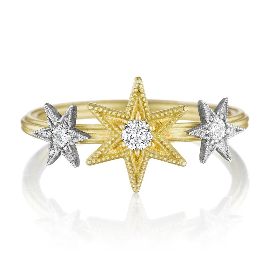 Anthony Lent Diamond Gold and Silver Triple Star Ring (Special Order) - Szor Collections
