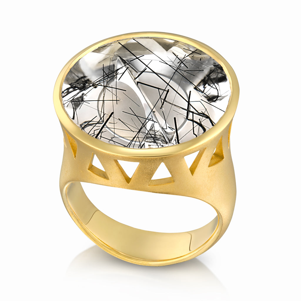 Atelier Munsteiner Magic Face Black Tourmaline Quartz One of a Kind Gold Ring - Szor Collections