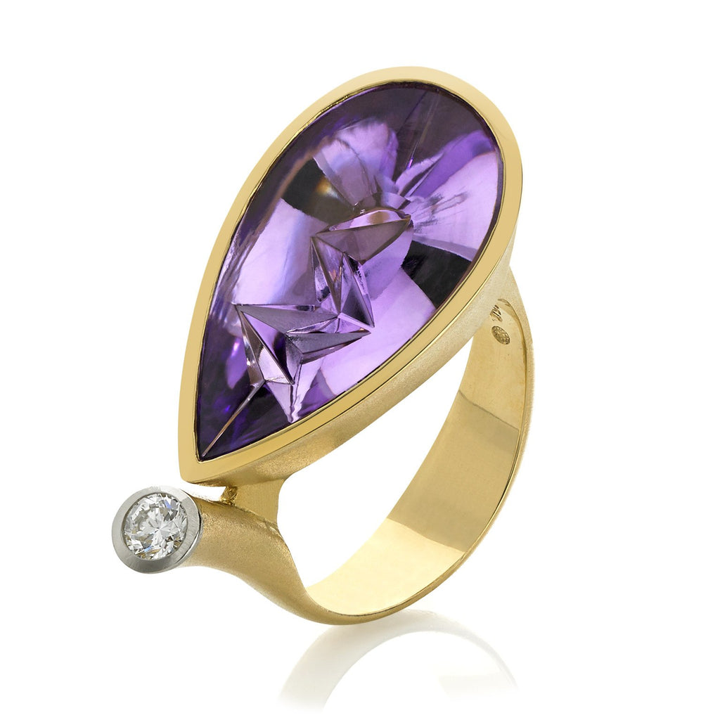Atelier Munsteiner Icicle-Cut Amethyst Diamond Gold Ring - Szor Collections