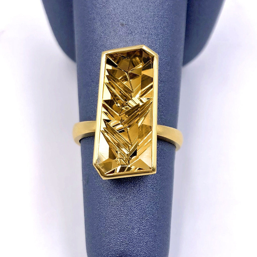 Atelier Munsteiner Vivid Fancy Cut Golden Beryl One of a Kind Vertical Bar Ring - Szor Collections