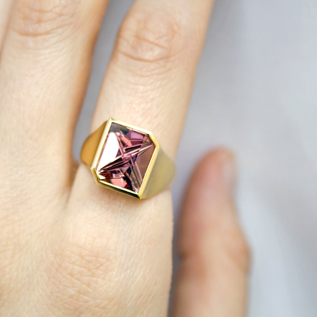 Atelier Munsteiner Faceted Rubelite Tourmaline Satin Gold Ring - Szor Collections - 6