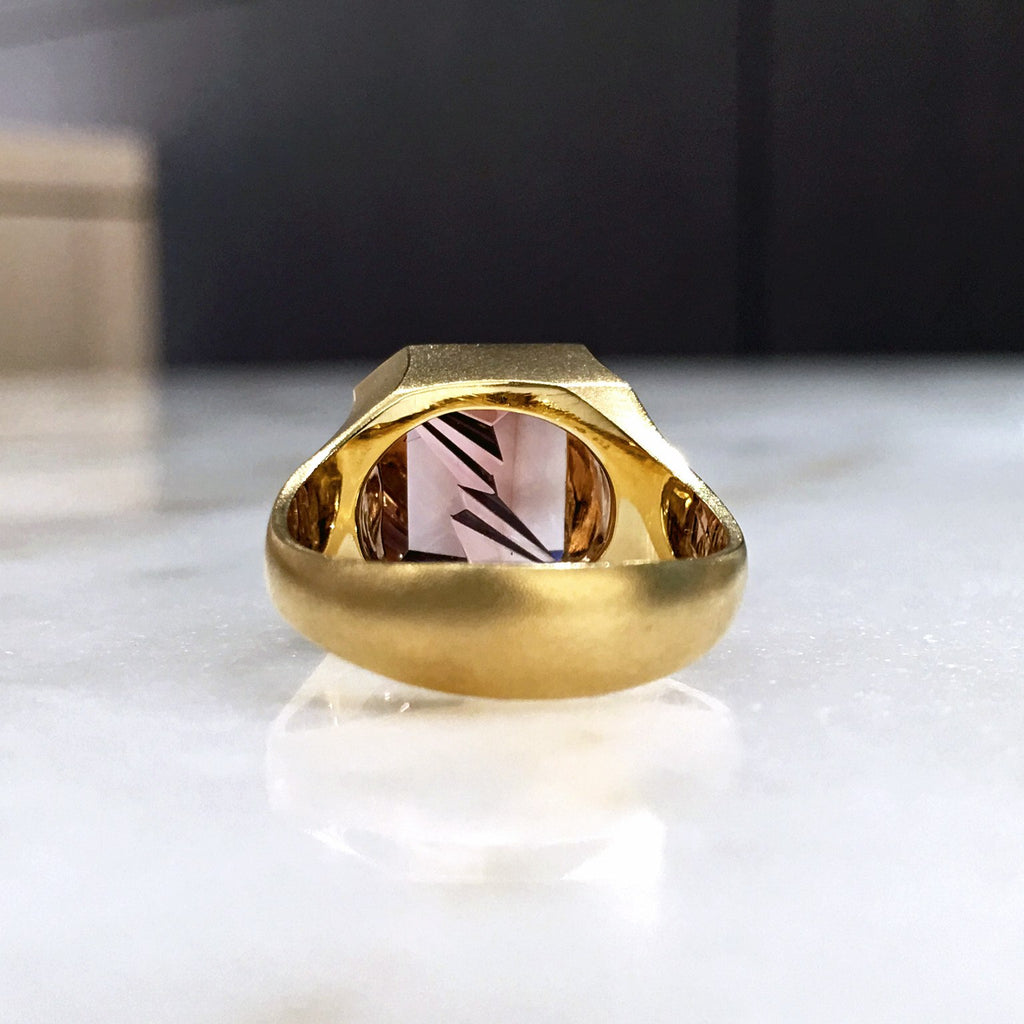 Atelier Munsteiner Faceted Rubelite Tourmaline Satin Gold Ring - Szor Collections - 3