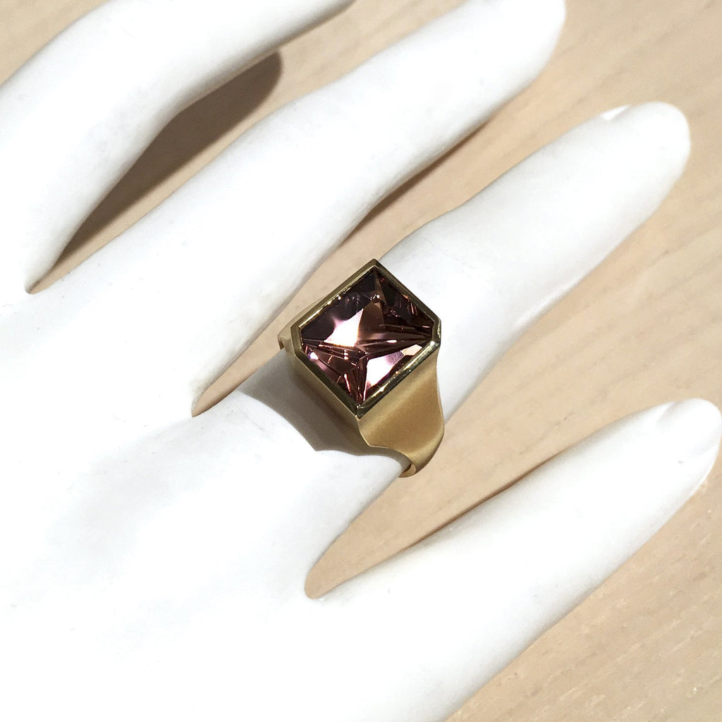 Atelier Munsteiner Faceted Rubelite Tourmaline Satin Gold Ring - Szor Collections