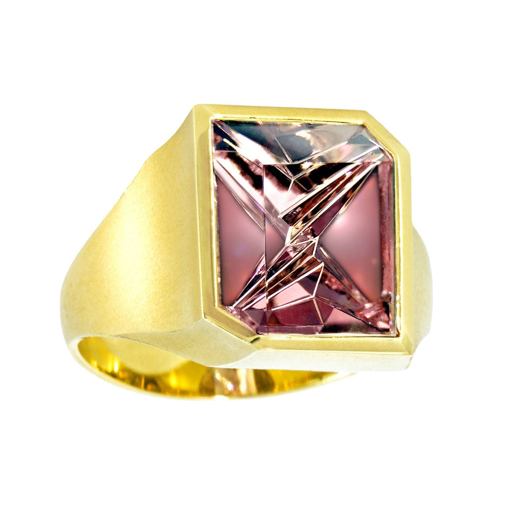 Atelier Munsteiner Faceted Rubelite Tourmaline Satin Gold Ring - Szor Collections - 1
