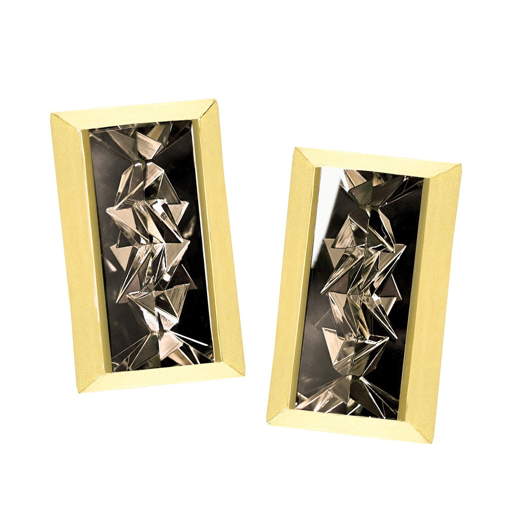 Atelier Munsteiner Reflective Smoky Quartz Gold Mantis Earrings - Szor Collections