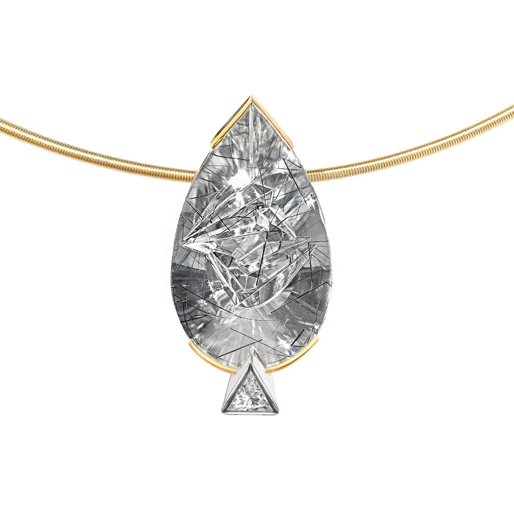 Atelier Munsteiner Tourmalinated Quartz Diamond Pendant Necklace - Szor Collections