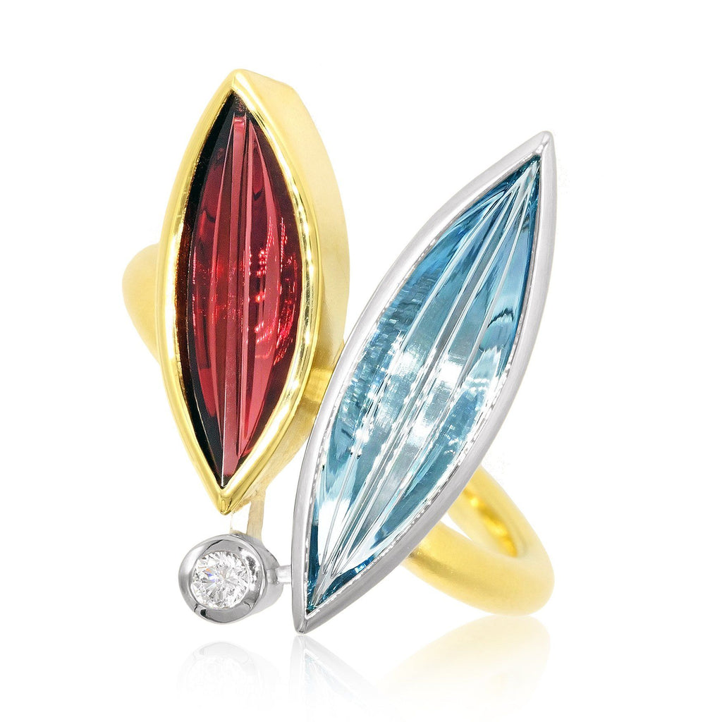Atelier Munsteiner Aquamarine Spessartine Garnet Diamond Ring - Szor Collections