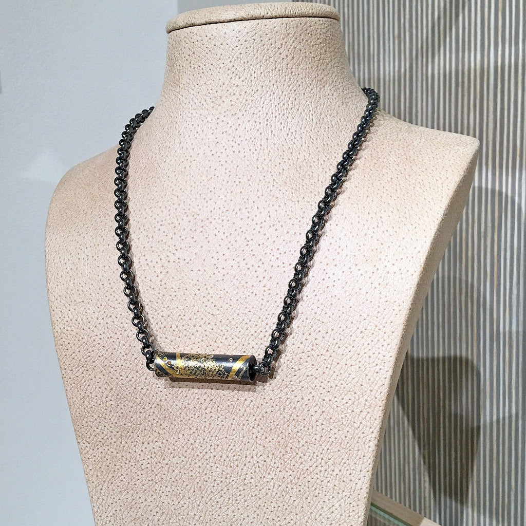Atelier Zobel Diamond Clasp Gold Black Silver Chain Barrel Necklace - Szor Collections