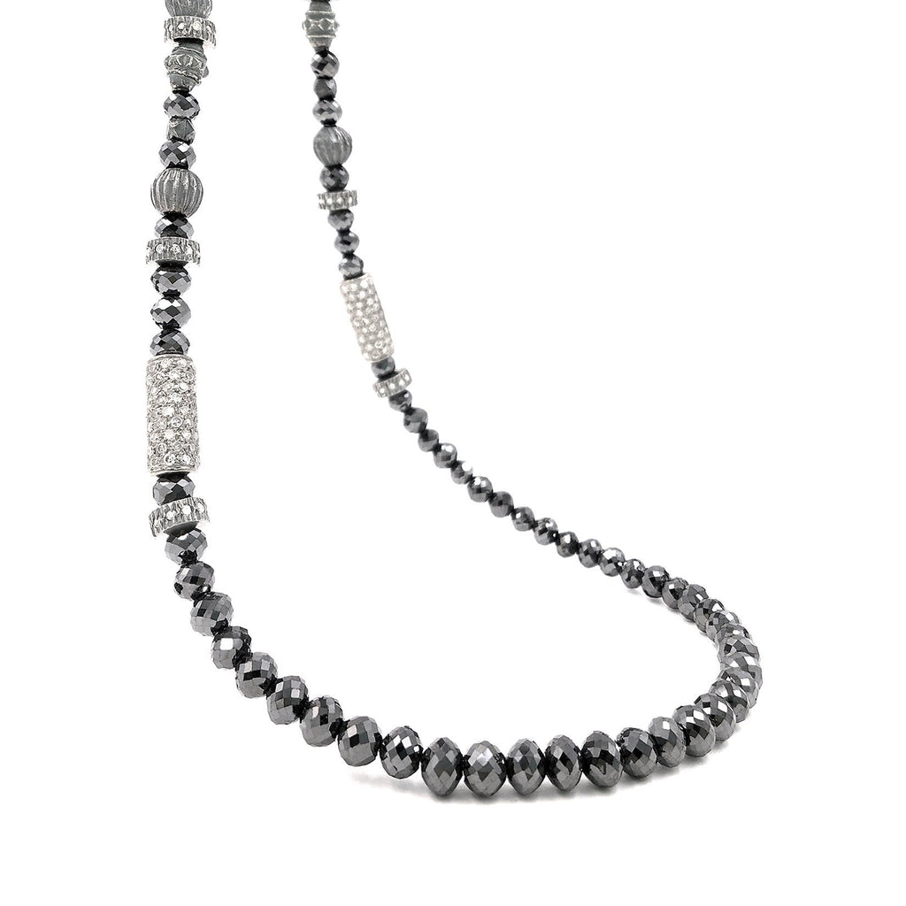 Atelier Zobel Black Diamond Indian Diamond Bead Faceted Antique Silver Necklace - Szor Collections