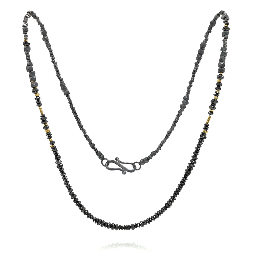 Atelier Zobel Black Diamond Faceted Oxidized Silver 24k Gold Beaded Necklace - Szor Collections