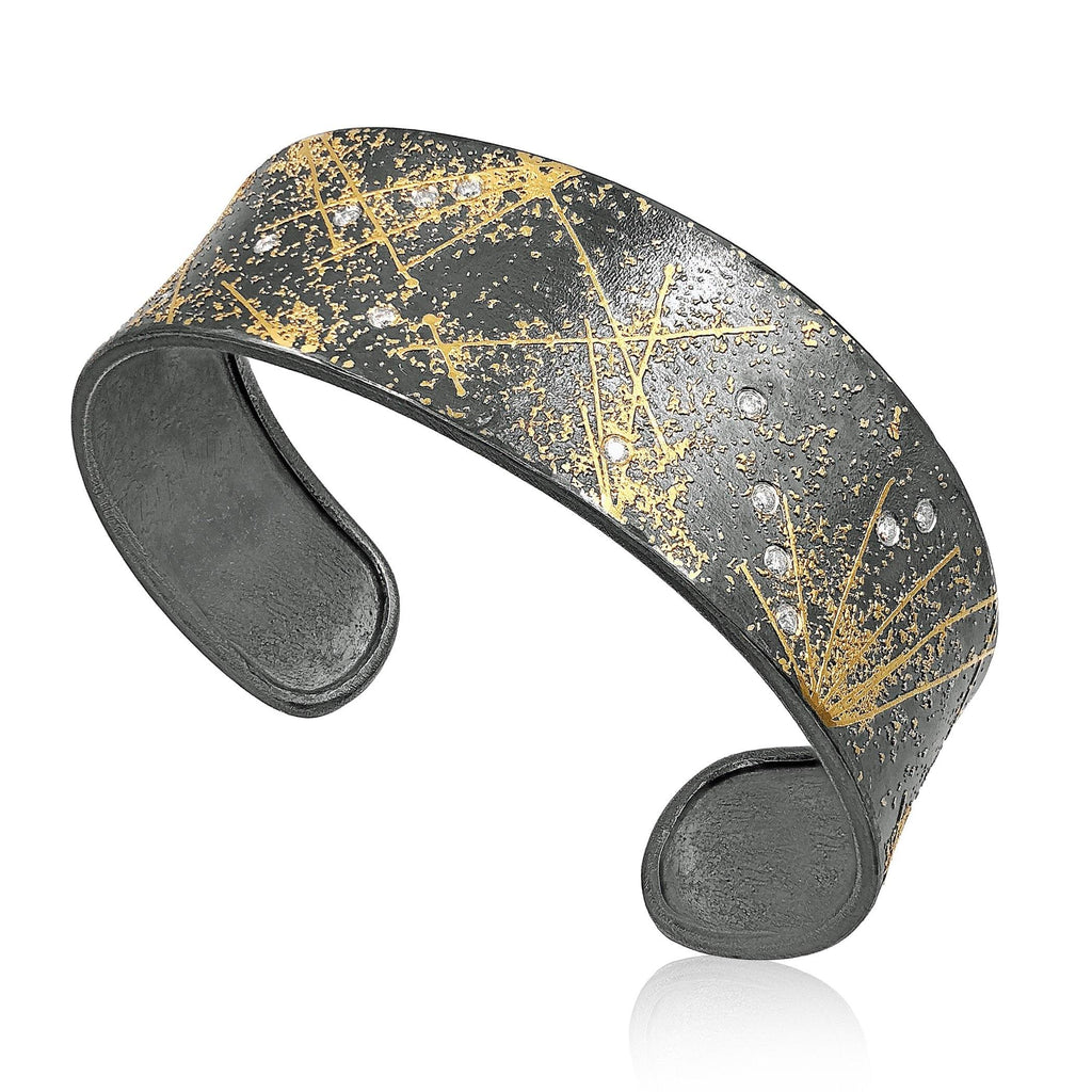 Atelier Zobel White Diamond Oxidized Silver Gold Fireworks Cuff - Szor Collections