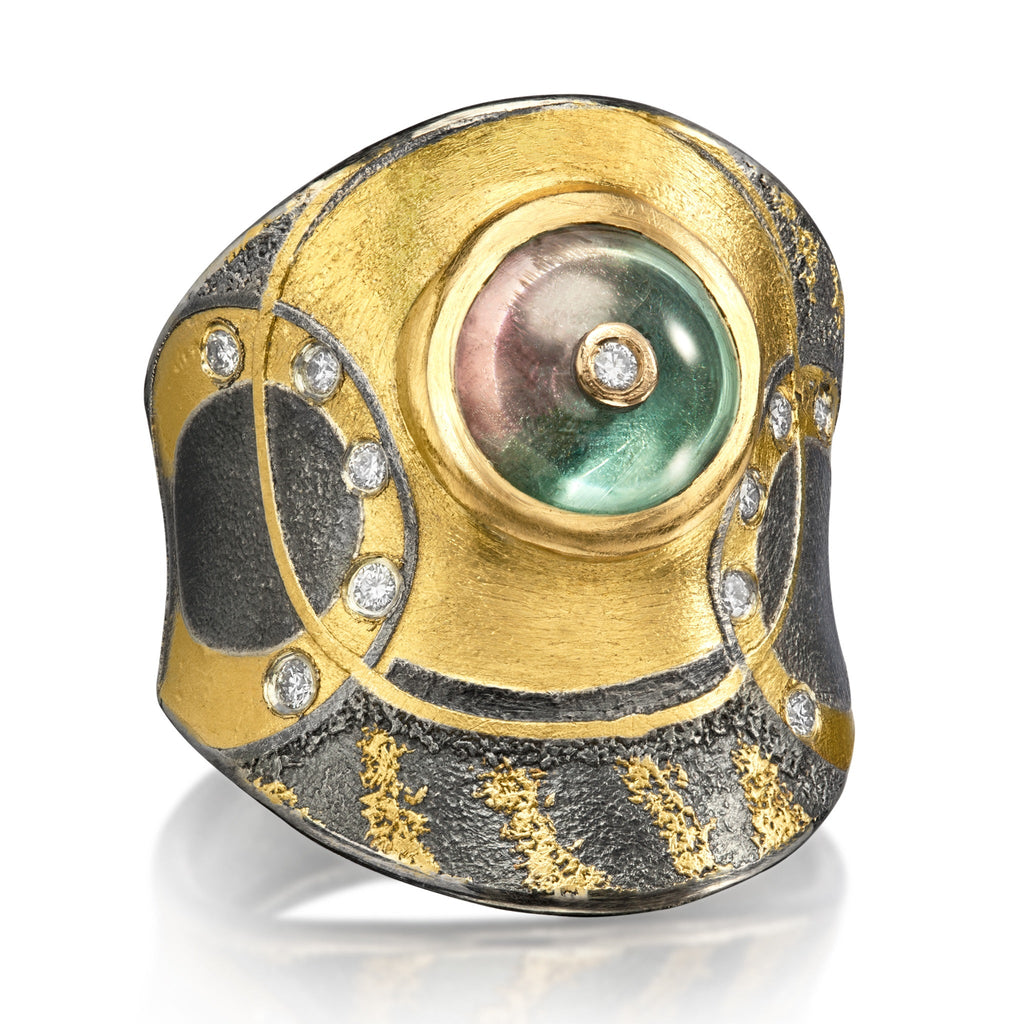 Atelier Zobel Bicolor Tourmaline White Diamond Oxidized Silver Gold Ring - Szor Collections