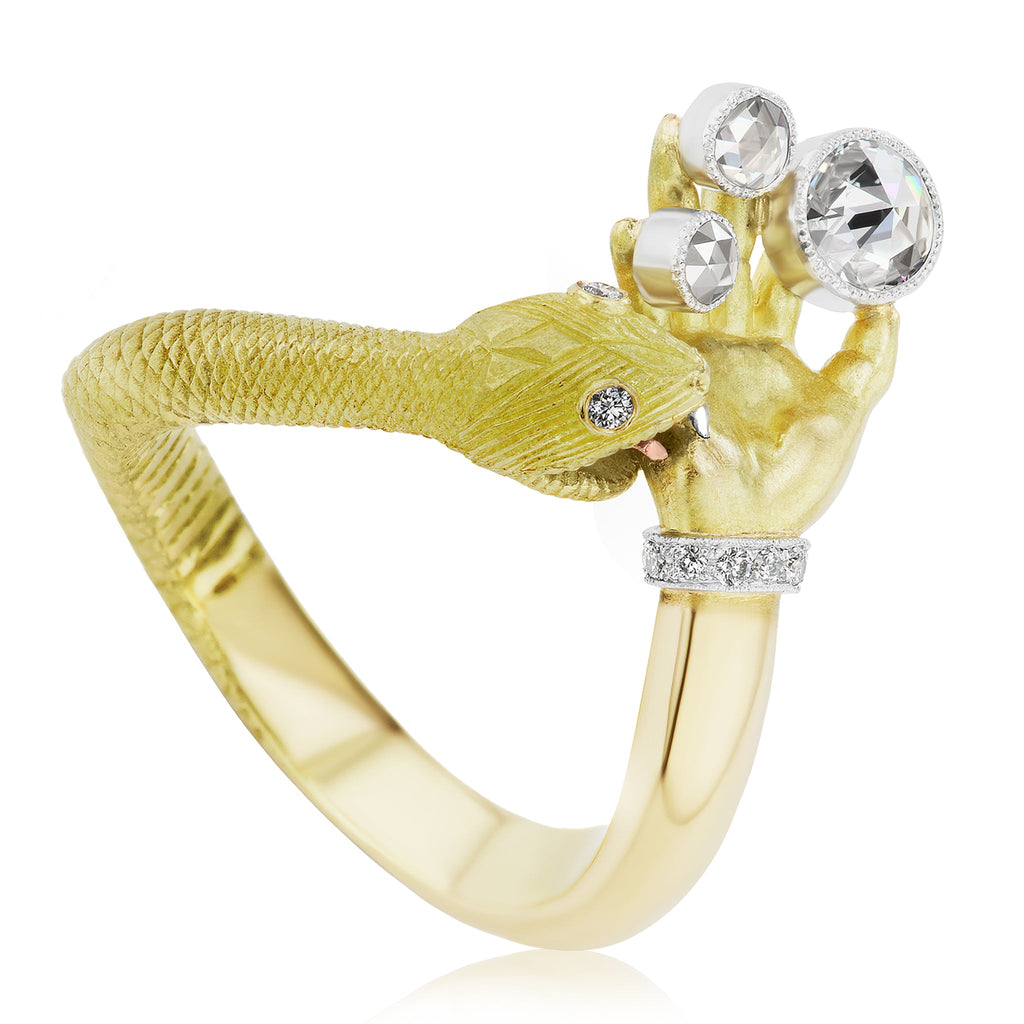 Anthony Lent White Diamond Platinum Gold Snakebite Ring - Szor Collections