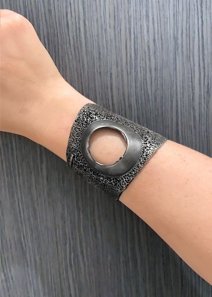 Darcy Miro Oxidized Sterling Silver Round Cut Cuff Bracelet - Szor Collections