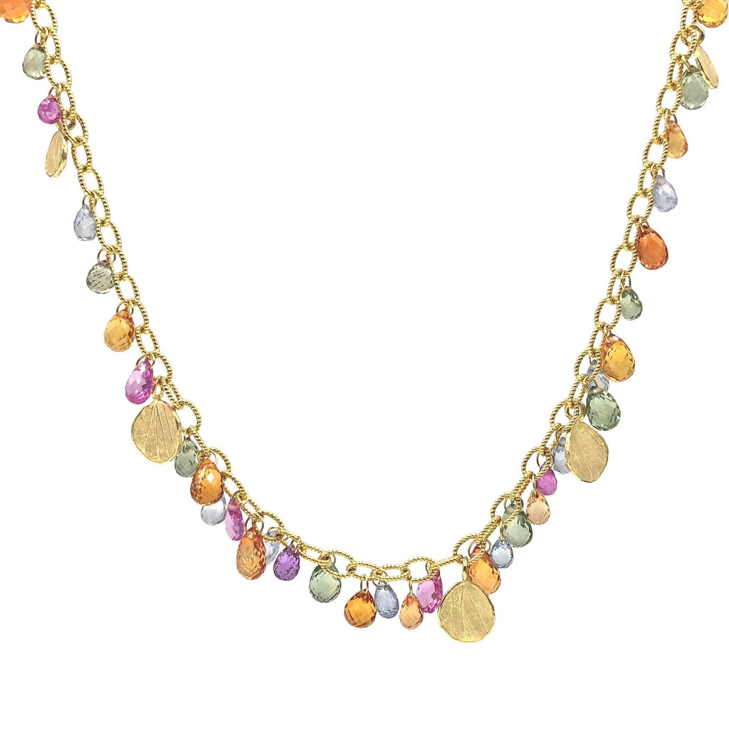 Barbara Heinrich Multicolored Sapphire Faceted Briolette Gold Petals Necklace (Special Order) - Szor Collections