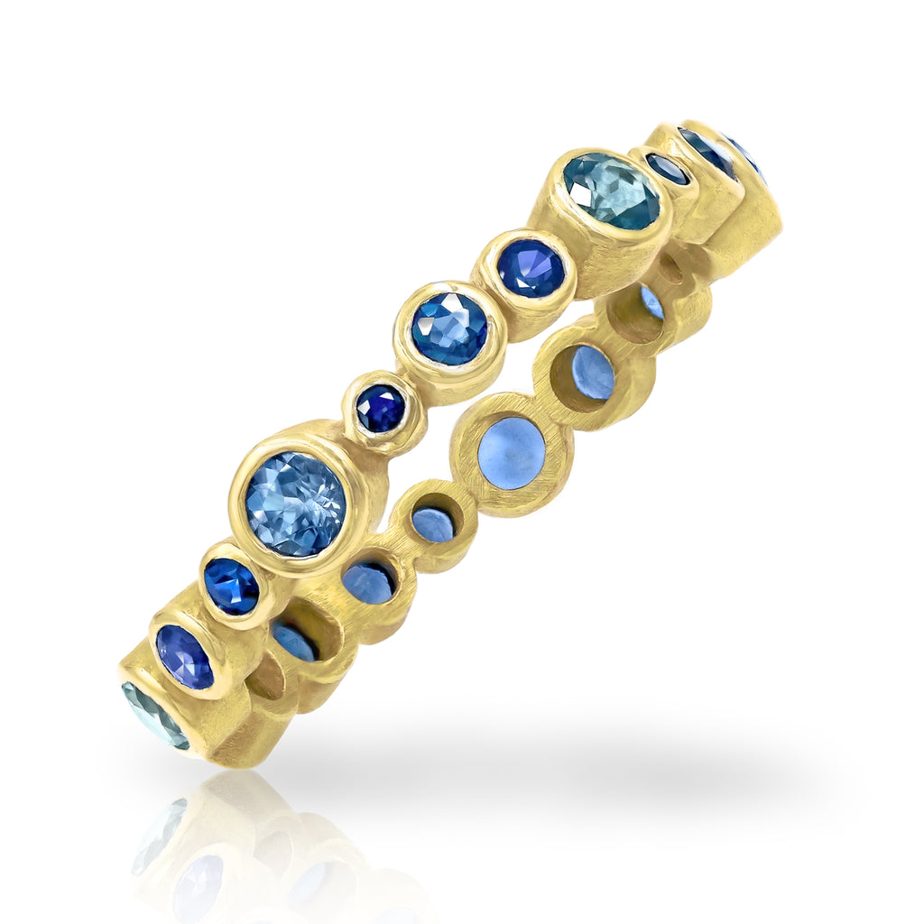 Barbara Heinrich Blue Sapphire Yellow Gold Eternity Bubble Band Ring - Szor Collections