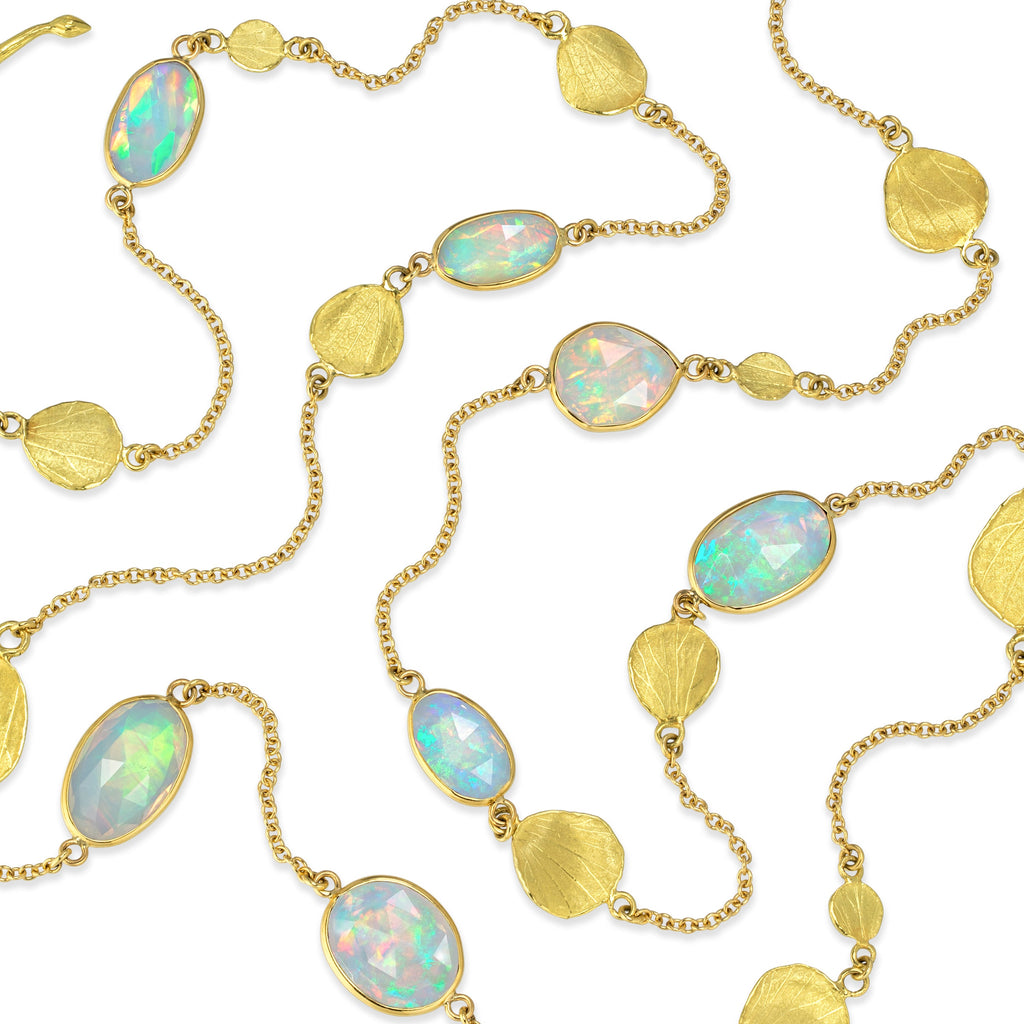 Barbara Heinrich One of a Kind Faceted Ethiopian Opal Gold Petals Necklace - Szor Collections