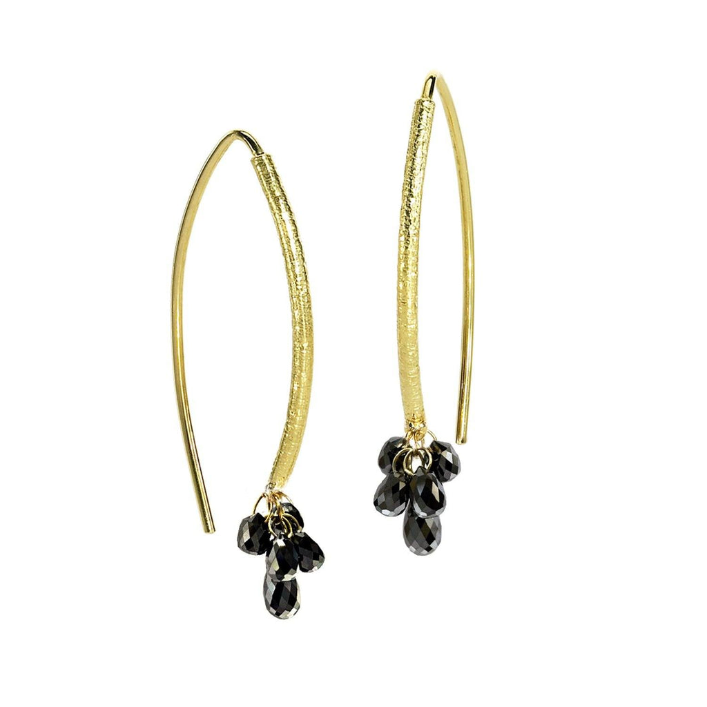Barbara Heinrich Faceted Black Diamond Briolette Navette Wire Earrings - Szor Collections