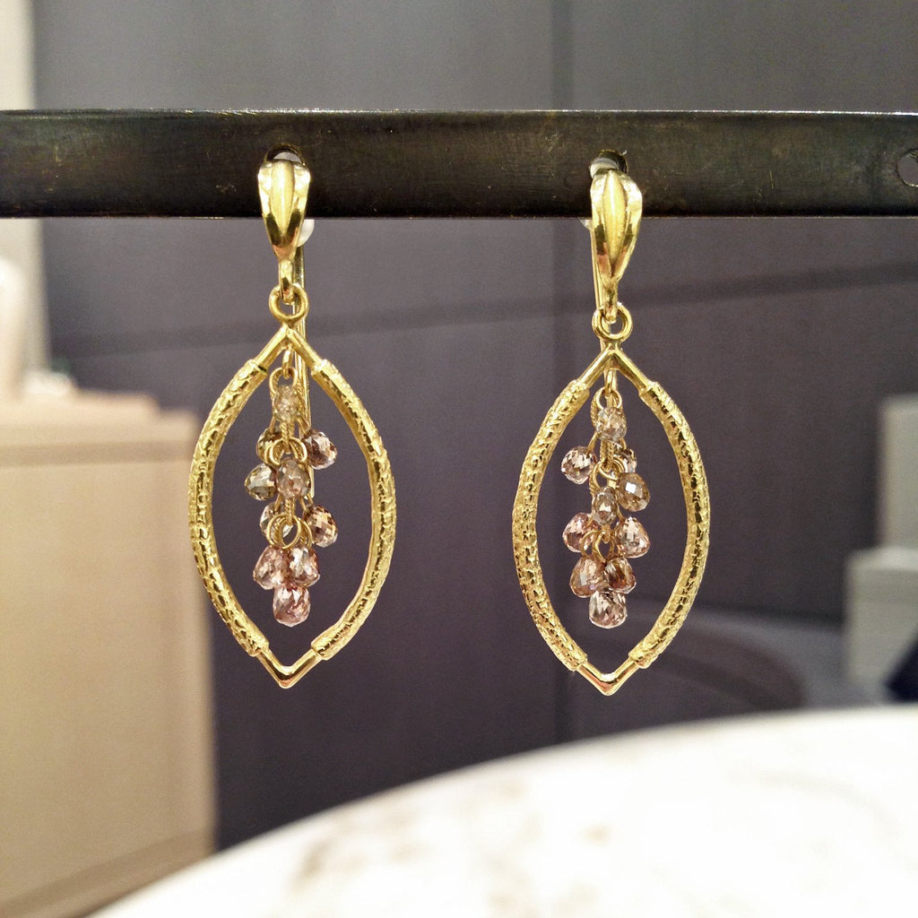 Barbara Heinrich Champagne Diamond Gold Cluster Drop Earrings (Special Order) - Szor Collections