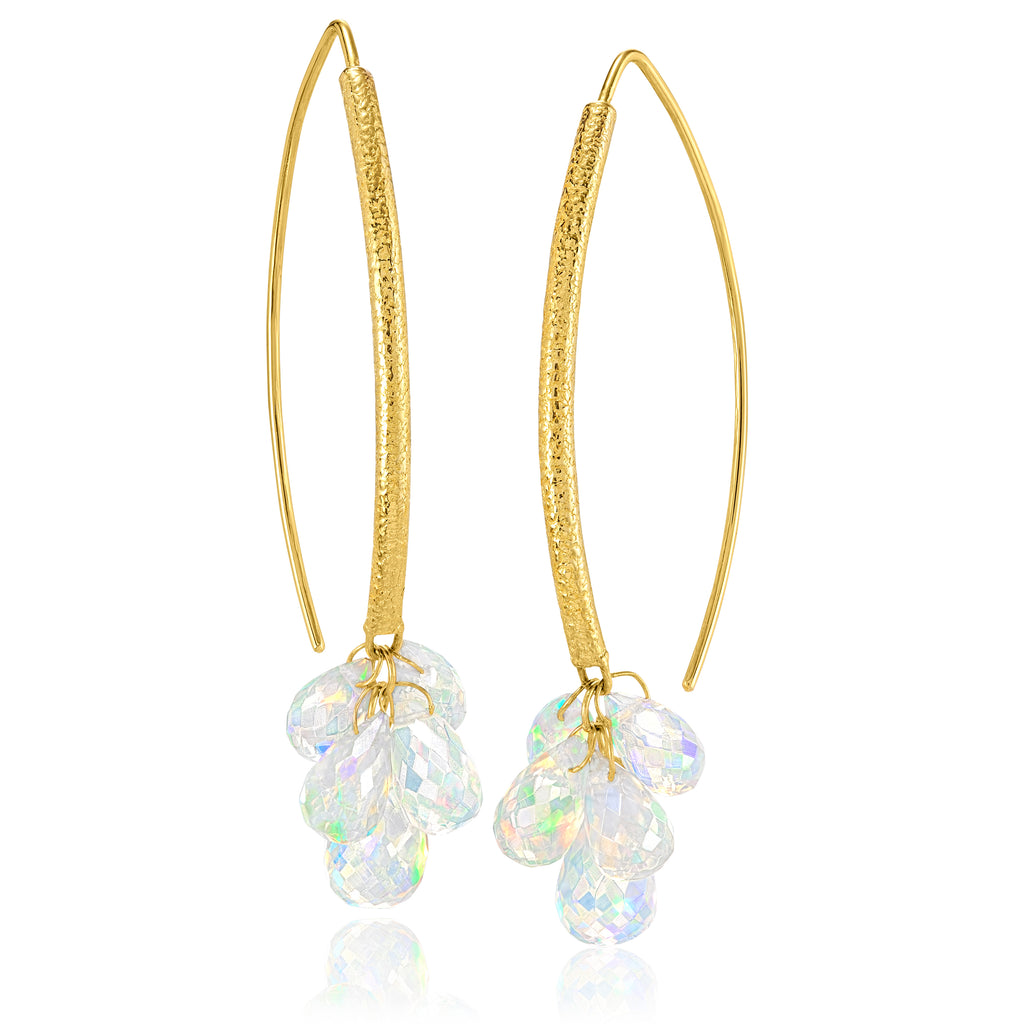 Barbara Heinrich Faceted Ethiopian Opal Briolette Gold Navette Dangle Earrings - Szor Collections