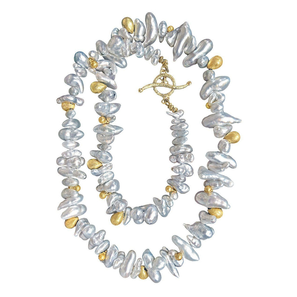 Barbara Heinrich One of a Kind Silver Keshi Pearl Gold Drops Handmade Necklace - Szor Collections