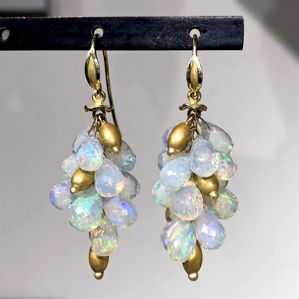 Barbara Heinrich Faceted Ethiopian Opal Briolette Gold Cluster Drop Earrings - Szor Collections