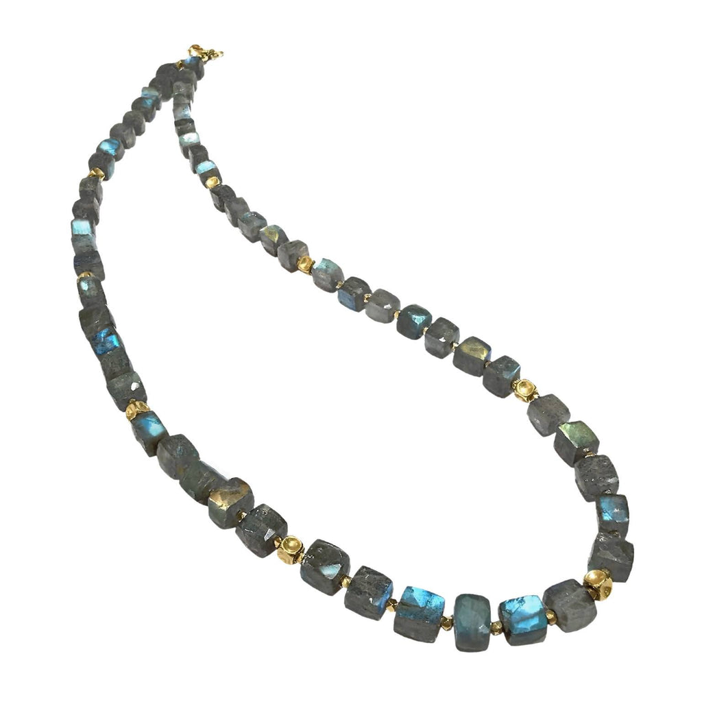 Barbara Heinrich Colorful Labradorite Cube Handmade Gold Spacer Necklace - Szor Collections
