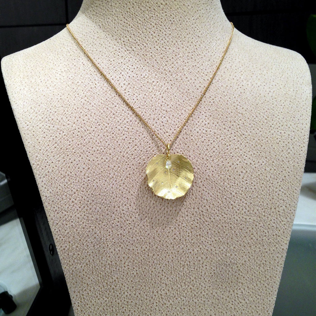 Barbara Heinrich Diamond Gold Lotus Leaf Drop Necklace (Special Order) - Szor Collections